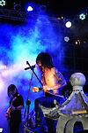 Puli, Taiwan -- Taiwanese Black Metal band ChthoniC at the 'Final Battle at Sing Ling Temple' concert in Puli, Nantou county.