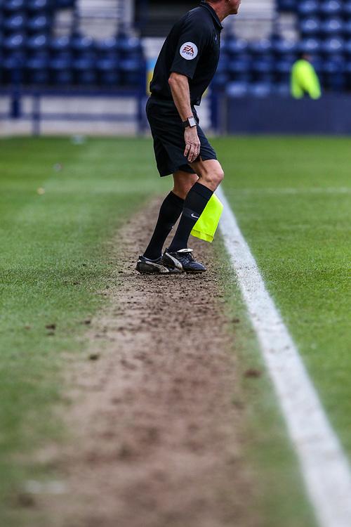 An assistant referee runs the touchline<br /> <br /> Photographer Alex Dodd/CameraSport<br /> <br /> The EFL Sky Bet Championship - Preston North End v Nottingham Forest - Saturday 16th February 2019 - Deepdale Stadium - Preston<br /> <br /> World Copyright © 2019 CameraSport. All rights reserved. 43 Linden Ave. Countesthorpe. Leicester. England. LE8 5PG - Tel: +44 (0) 116 277 4147 - admin@camerasport.com - www.camerasport.com