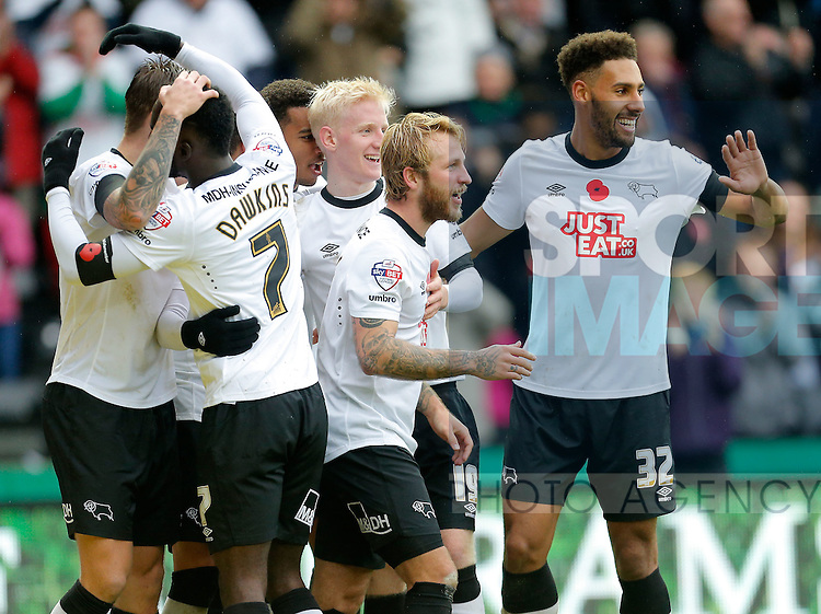 Delight for Will Hughes, Johnny Russell and Ryan Shotton  of Derby County following their fourth goal - Football - Sky Bet Championship - Derby County vs Wolverhampton Wanderers - iPro Stadium Derby - Season 2014/15 - 8th November 2014 - Photo Malcolm Couzens/Sportimage