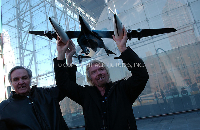 WWW.ACEPIXS.COM . . . . . ....January 23 2008, New York City....Sir Richard Branson of Virgin Atlantic (R) and designer Burt Rutan, who is CEO of Scaled Composites, hold up a model of a spaceship at the Museum of Natural History which Branson hopes willl be the first to fly paying passengers into space on a regular schedule... ..Branson's Virgin Galactic  has already signed up about 200 people for the ride which will cost about $200,000 per person.....Please byline: KRISTIN CALLAHAN - ACEPIXS.COM.. . . . . . ..Ace Pictures, Inc:  ..(646) 769 0430..e-mail: info@acepixs.com..web: http://www.acepixs.com