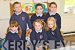 Starting their school journey were the students from Rockchapel NS, Co Cork, pictured here last Thursday was F l-r: 1st cousins Laura, Nicole and Aoife O'Carroll. B l-r: Kevin McAuliffe and twins Ben and Daniel Brosnahan.