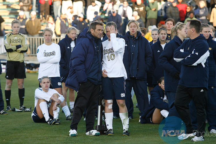 07 DEC 2008:  The University of Notre Dame takes on the University of North Carolina during the Division I Women's Soccer Championship held at the WakeMed Soccer Park in Cary, NC.  Jamie Schwaberow/NCAA Photos