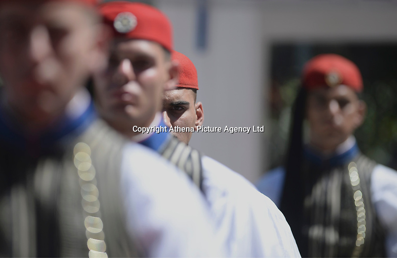 Pictured: Presidential Guards outside the Presidential Mansion in Athens, Greece. Thurday 07 September 2017<br /> Re: The official welcome of French President Emmanuel Macron for his state visit to Athens, Greece.