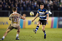 Rhys Priestland of Bath Rugby puts boot to ball. Aviva Premiership match, between Bath Rugby and Exeter Chiefs on March 23, 2018 at the Recreation Ground in Bath, England. Photo by: Patrick Khachfe / Onside Images
