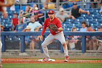 Palm Beach Cardinals first baseman Stefan Trosclair (28) waits to receive a pick off throw during a game against the Charlotte Stone Crabs on April 21, 2018 at Charlotte Sports Park in Port Charlotte, Florida.  Charlotte defeated Palm Beach 5-2.  (Mike Janes/Four Seam Images)