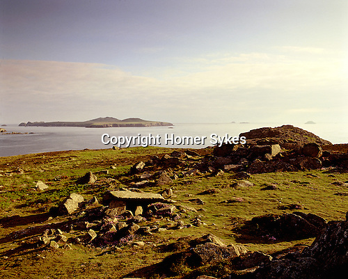 St Saint Davids Head, Coetan Arthur and Ramsey island. ( in distance ) Ruined Hut Circle. St Davids Head, St David's, Pembrokshire Wales. Uk. Celtic Britain published by Orion