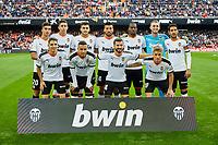 9th November 2019; Mestalla, Valencia, Spain; La Liga Football,Valencia versus Granada; Valencia Players line up prior to the game - Editorial Use