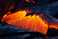 Lava Toe: Lava inflates at the leading edge of this flow in the shape of a large toe, 61g flow, Hawai'i Volcanoes National Park, Big Island of Hawai'i.