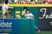 Jake Shaffer (31) of the Springfield Cardinals eyes a ball hit into foul territory  during a game against the St. Louis Cardinals at Hammons Field on April 2, 2012 in Springfield, Missouri. (David Welker/Four Seam Images)