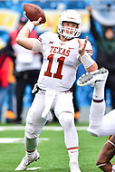 Morgantown, WV - NOV 18, 2017: Texas Longhorns quarterback Sam Ehlinger (11) throws a pass during game between West Virginia and Texas at Mountaineer Field at Milan Puskar Stadium Morgantown, West Virginia. (Photo by Phil Peters/Media Images International)