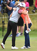 28th September 2017, Windross Farm, Auckland, New Zealand; LPGA McKayson NZ Womens Open, first round;  England's Jodi Ewart Shadoff (R) hugs Canada's Brooke Henderson at the end of their round