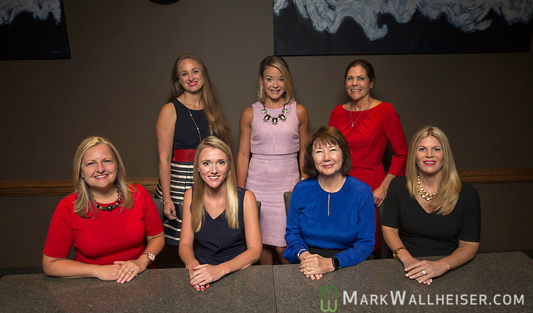 Seated from left, moderator Christina Johnson,  lobbyist Samantha Sexton, Keyna Cory and Andrea Reilly,  Top Row left to right lobbyist Monica Rodriguez, Sarah Busk and Jan Gorrie prior to a Florida Women Lobbyist round table at the Blue Halo Restaurant in Tallahassee, Florida.