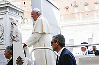 Pope Francis leaves at the end of his weekly general audience in St. Peter's Square at the Vatican City, October 16, 2019. At bottom, with sunglasses, new Vatican head of security Gianluca Gauzzi Broccoletti.<br /> UPDATE IMAGES PRESS/Riccardo De Luca<br /> <br /> STRICTLY ONLY FOR EDITORIAL USE