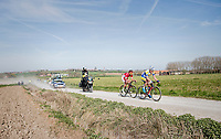 race leaders Preben Van Hecke (BEL/Sport Vlaanderen - Baloise) & Loïc Chetout (FRA/Cofidis) leading over the newly added gravel roads around Ploegsteert, called 'Plugstreets'<br /> <br /> 79th Gent-Wevelgem 2017 (1.UWT)<br /> 1day race: Deinze › Wevelgem - BEL (249km)