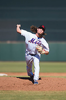 Scottsdale Scorpions relief pitcher Matt Blackham (19), of the New York Mets organization, delivers a pitch during an Arizona Fall League game against the Surprise Saguaros at Scottsdale Stadium on October 26, 2018 in Scottsdale, Arizona. Surprise defeated Scottsdale 3-1. (Zachary Lucy/Four Seam Images)