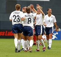 USA celebrates goal , USWNT vs Canada April 26, 2003.