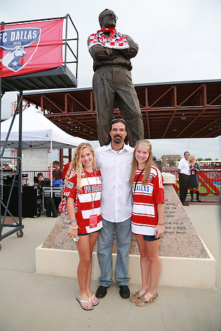 FRISCO, TX - SEPTEMBER 15: Detail views of the scarfing ceremonies of the Lamar Hunt statue by Marcelo Balboa on north gate concourse prior to the start of the game between the FC Dallas and the Vancouver FC  at FC Dallas Stadium on September 15, 2012 in Frisco, Texas. (Photo by Rick Yeatts)
