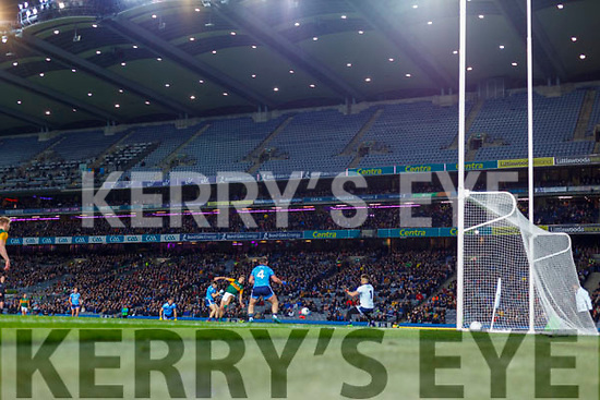 David Clifford, Kerry scores his side's only goal despite the attention of Eoin Murchan, Dublin during the Allianz Football League Division 1 Round 1 match between Dublin and Kerry at Croke Park on Saturday.