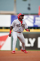 Clearwater Threshers left fielder Cornelius Randolph (2) leads off second base during a game against the Bradenton Marauders on April 18, 2017 at LECOM Park in Bradenton, Florida.  Clearwater defeated Bradenton 4-2.  (Mike Janes/Four Seam Images)