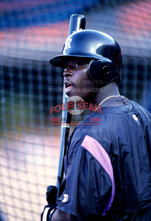 Derrick Gibson of the Colorado Rockies participates in a Major League Baseball game at Dodger Stadium during the 1998 season in Los Angeles, California. (Larry Goren/Four Seam Images)