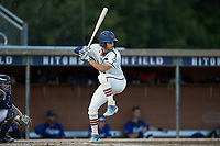 Ethan Murray (2) (Duke) of the High Point-Thomasville HiToms at bat against the Martinsville Mustangs at Finch Field on July 26, 2020 in Thomasville, NC.  The HiToms defeated the Mustangs 8-5. (Brian Westerholt/Four Seam Images)