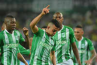 MEDELLÍN - COLOMBIA ,07-04-2019:Omar Duarte jugador del Atlético Nacional celebra después de anotar un gol al Alianza Petrolera   durante partido por la fecha 14 de la Liga Águila I 2019 jugado en el estadio Atanasio Girardot de la ciudad de Medellín. /Omar Duarte  player of Atletico Nacional celebrates after scoring a goal agaisnt  of Alianza Petrolera  during the match for the date 14 of the Liga Aguila I 2019 played at the Atanasio Girardot  Stadium in Medellin  city. Photo: VizzorImage / León Monsalve / Contribuidor.
