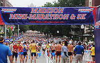 Runners line up at the starting line of the Madison Mini-Marathon on Saturday, 8/21/10, in Madison, Wisconsin
