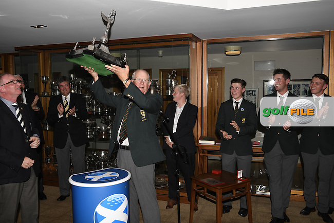 Tony Goode (Team Captain) lifts the Raymond Trophy. Three years in a row, Team Ireland win the Home Internationals, Nairn Golf Club, Seabank Road, Nairn, Scotland.  13/08/2016.<br />