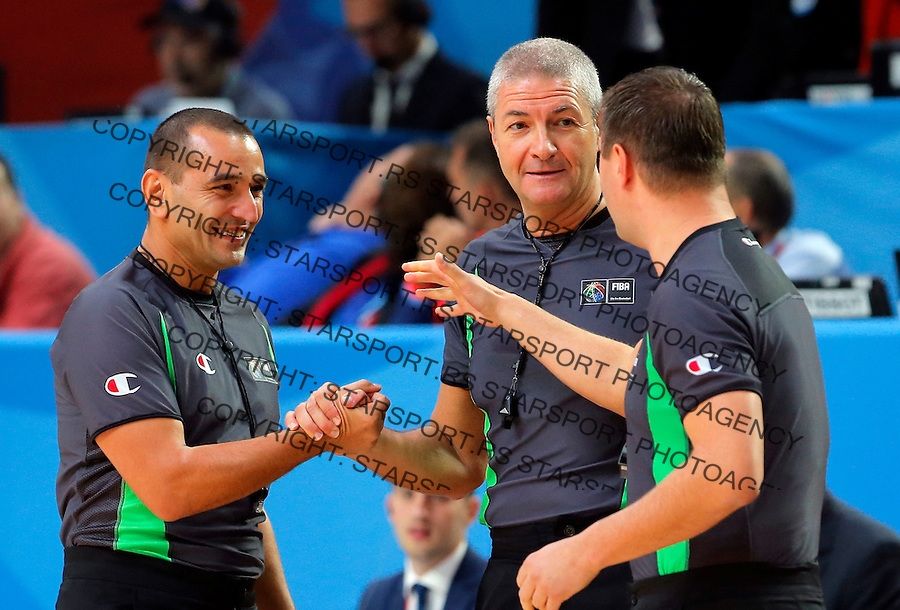 Ilija Belosevic, Lamonica Luigi and Ryzhyk Borys  during European championship basketball final match between Spain and Lithuania on September 20, 2015 in Lille, France  (credit image & photo: Pedja Milosavljevic / STARSPORT)