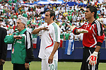10 June 2007: Justino Compean, president of the Federacion Mexicana de Futbol Asociacion, with Cuauhtemoc Blanco (10), and Oswaldo Sanchez (1) during the playing of the Mexican national anthem. The Honduras Men's National Team defeated the National Team of Mexico 2-1 at Giants Stadium in East Rutherford, New Jersey in a first round game in the 2007 CONCACAF Gold Cup.