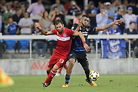 San Jose, CA - Wednesday September 27, 2017: Nemanja Nikolić, Anibal Godoy during a Major League Soccer (MLS) match between the San Jose Earthquakes and the Chicago Fire at Avaya Stadium.
