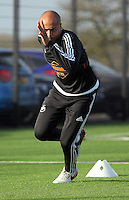 SWANSEA, WALES - JANUARY 28: Andre Ayew warms up during the Swansea City Training Session on January 28, 2016 in Swansea, Wales.