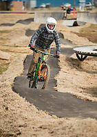 NWA Democrat-Gazette/BEN GOFF @NWABENGOFF<br /> Chase Francis of Bentonville rides the skills lines Saturday, Feb. 9, 2019, at the Runway Bike Park at the Jones Center in Springdale. The bike playground and pump track at the park opened in late September, but the skills lines were delayed in opening until today due to weather and drainage issues.