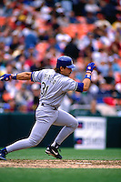 SAN FRANCISCO, CA - Mike Piazza of the Los Angeles Dodgers bats during a game against the San Francisco Giants at Candlestick Park in San Francisco, California in 1996. (Photo by Brad Mangin)