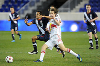 Danny Zaid (3) of the USA is challenged by Kyle McCord (14) of the New York Red Bulls. The USMNT U-17 defeated New York Red Bulls U-18 4-1 during a friendly at Red Bull Arena in Harrison, NJ, on October 09, 2010.