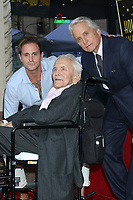 LOS ANGELES - NOV 6:  Cameron Douglas, Kirk Douglas, Michael Douglas at the Michael Douglas Star Ceremony on the Hollywood Walk of Fame on November 6, 2018 in Los Angeles, CA