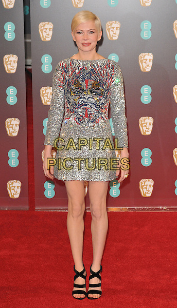 Michelle Williams at the EE British Academy Film Awards (BAFTAs) 2017, Royal Albert Hall, Kensington Gore, London, England, UK, on Sunday 12 February 2017.<br /> CAP/CAN<br /> &copy;CAN/Capital Pictures