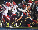 Belleville Eat's Caleb Freppon dives into the end zone for a touchdown. Belleville East hosted Chaminade on Friday August 30, 2019.<br /> Tim Vizer/Special to STLhighschoolsports.com