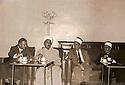 Iraq 1970 .4 men having tea in an house, first from right, Omar al Wajdi from Diyarbakir, former student in al Azhar, 2nd, Rashad  Mufti .Iraq 1970 .Hommes prenant le the dans une maison, 1er a droite, Omar al Wajdi de Diarbakir, ancien etudiant a al Azhar, 2eme, Rashad Mufti