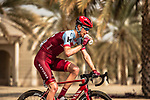 Ian Boswell (USA) Team Katusha-Alpecin makes his way to sign on before the start of Stage 2 of the 2018 Tour of Oman running 167.5km from Sultan Qaboos University to Al Bustan. 14th February 2018.<br /> Picture: ASO/Muscat Municipality/Kare Dehlie Thorstad | Cyclefile<br /> <br /> <br /> All photos usage must carry mandatory copyright credit (&copy; Cyclefile | ASO/Muscat Municipality/Kare Dehlie Thorstad)