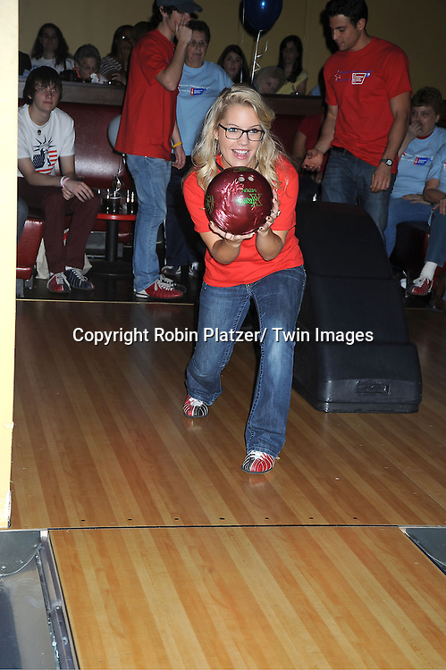 Kristen Alderson bowls at the Daytime Stars and Strikes Charity Bowling Event benefitting the American Cancer Society on ..October 9, 2011 at Bowlmor Lanes in Times Square.