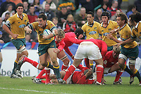 Australian hooker James Hanson sets up this attack during the clash 3rd/4th place clash at Ravenhill, Belfast.