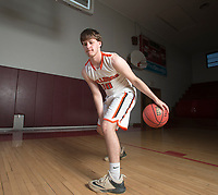 NWA Democrat-Gazette/CHARLIE KAIJO Division II Boys Newcomer of the Year Payton Brown of Waldron High School poses for a portrait, Thursday, March 15, 2018 at Springdale High School auxiliary gym in Springdale