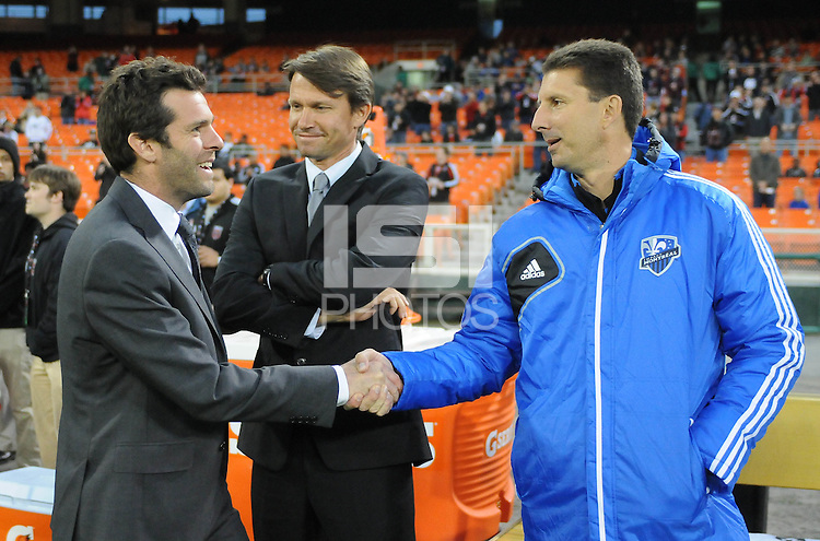 D.C. United head coach Ben Olsen greeting Montreal Impact head coach Jesse Marsch and assistant coach Mike Sorber. D.C. United tied The Montreal Impact 1-1, at RFK Stadium, Wednesday April 18 , 2012.