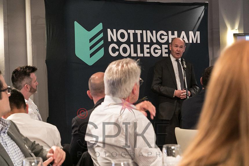 Sir John Peace, Lord Lieutenant of Nottinghamshire speaks at Nottingham City Business Club