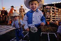 Little cowboys at the rodeo at the Clay County Fair in Spencer, Iowa