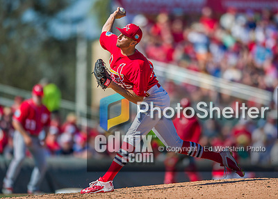 6 March 2016: St. Louis Cardinals pitcher Daniel Poncedeleon on the mound during a Spring Training pre-season game against the Washington Nationals at Roger Dean Stadium in Jupiter, Florida. The Nationals defeated the Cardinals 5-2 in Grapefruit League play. Mandatory Credit: Ed Wolfstein Photo *** RAW (NEF) Image File Available ***