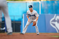 Tampa Tarpons third baseman Mandy Alvarez (3) during a game against the Dunedin Blue Jays on June 2, 2018 at Dunedin Stadium in Dunedin, Florida.  Dunedin defeated Tampa 4-0.  (Mike Janes/Four Seam Images)