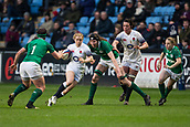 16th March 2018, Ricoh Arena, Coventry, England; Womens Six Nations Rugby, England Women versus Ireland Women; Catherine O'Donnell of England about to be tackled by Lindsay Peat of Ireland