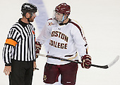 David Hansen gives Cam Spiro (BC - 15) penalty shot instructions. - The Boston College Eagles defeated the visiting St. Francis Xavier University X-Men 8-2 in an exhibition game on Sunday, October 6, 2013, at Kelley Rink in Conte Forum in Chestnut Hill, Massachusetts.